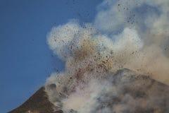 壮观的火山Etna爆发,西西里岛,意大利 图库摄影