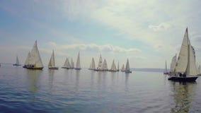 壮观的航行在公海,赛船会,冒险乘快艇 影视素材