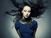 壮观美丽的黑发的夫人 免版税库存图片