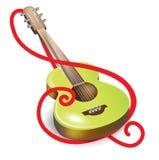 声学吉他和谱号符号 免版税库存图片