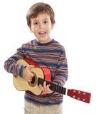 声学吉他孩子 免版税库存图片