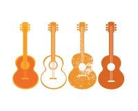 声学吉他剪影集合 向量例证