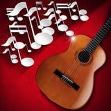 声学吉他和笔记背景-红色天鹅绒 免版税库存图片