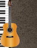 声学吉他和钢琴例证 免版税库存图片