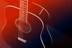 黑声学吉他,红蓝色被定调子的照片 免版税图库摄影