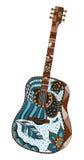 声学吉他 Zentangle传统化了 模式 向量Illustratio 免版税图库摄影