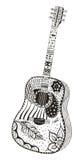 声学吉他 Zentangle传统化了 免版税库存图片