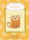声明婴孩新看板卡的小猫 免版税库存图片