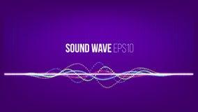 声波传染媒介摘要背景 微粒和小点在紫外背景 技术音乐信号 免版税库存图片