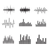 声波象集合 音乐被设置的soundwave象 调平音频a 免版税库存照片