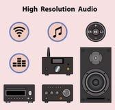 声测设备和高分辨率音频 平的象 也corel凹道例证向量 图库摄影