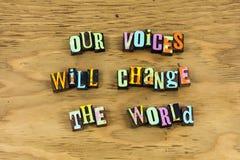 声音变动世界表决相信活版 库存照片