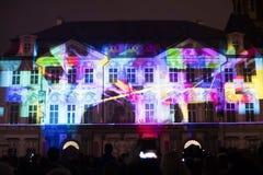 声音图轻videomapping在老镇sqaure在信号灯节日期间的布拉格2016年 免版税库存图片
