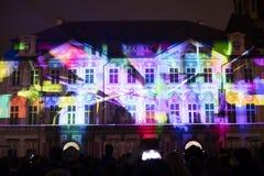 声音图轻videomapping在老镇sqaure在信号灯节日期间的布拉格2016年 库存图片