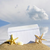 贝壳和海星与开放信封与空白的信件 库存照片