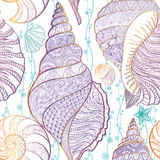 贝壳无缝的样式水下的海铺磁砖了背景夏天 免版税库存图片