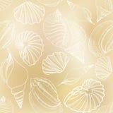 贝壳沙子无缝的纹理。手拉的时髦的夏天  免版税库存照片