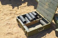 从壳的空的子弹框 免版税库存照片