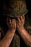 壳震惊美国海军陆战队员-越战 免版税库存照片
