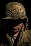 壳震惊美国海军陆战队员-越战 库存图片