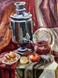 绘水壶的静物画水彩 免版税库存照片