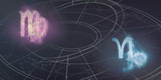 处女座和山羊座占星标志兼容性 夜空吸收 库存照片