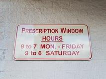 处方窗口小时签署时期和几天 库存图片
