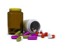 处方医学。从处方瓶的溢出的药片 库存照片