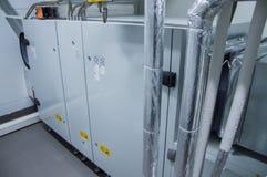 处理单位的灰色室内空气在透气植物屋子 库存照片