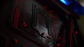 处理器特写镜头个人计算机里面,细节和导线例证,设备 影视素材