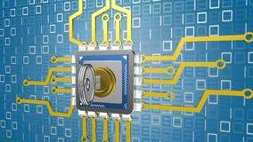 处理器的动画在数字式背景的与钥匙 免版税库存图片