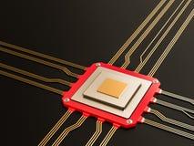 处理器(微集成电路)互联了获得和送信息 中心中央电路概念cpu将来的六角加工技术部件 免版税库存照片