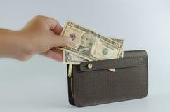 处理在白色背景隔绝的棕色钱包美元 库存照片