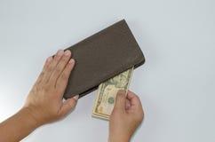处理在白色背景隔绝的棕色钱包美元 库存图片