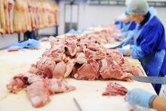 处理在肉类加工植物的肉 食品工业 库存图片