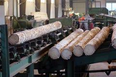 处理在锯木厂的木材 免版税图库摄影