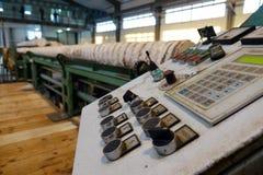 处理在锯木厂的木材 免版税库存照片