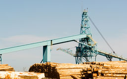 处理塔江边日志存贮围场造纸厂 免版税库存照片