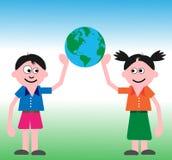 处理孩子的地球 向量例证