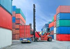 处理容器箱子的铲车装载对卡车在船坞 库存图片