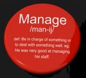 处理显示领导管理的定义按钮和超级 库存照片