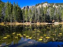 处理的科罗拉多完成的hdr山国家公园岩石风暴冬天 免版税库存照片