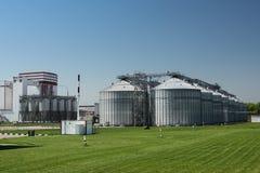 处理的粮食作物大现代植物 行业横向 粮仓行在晴朗的夏日 库存图片