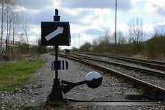 处理老铁路的开关,捷克,欧洲 库存照片