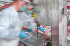 处理肉食品工业的猪肉 免版税库存图片
