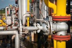 处理阀门的油和煤气 库存照片