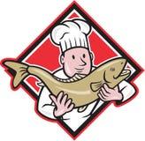 处理鳟鱼鱼动画片的厨师厨师 免版税库存图片
