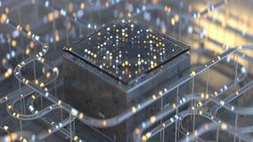 处理3D翻译例证的未来派计算机编码 库存例证