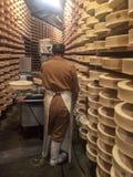 处理Fontina的典型的乳酪 库存照片
