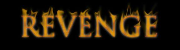 复仇书面和烧在火的文本字 免版税库存照片